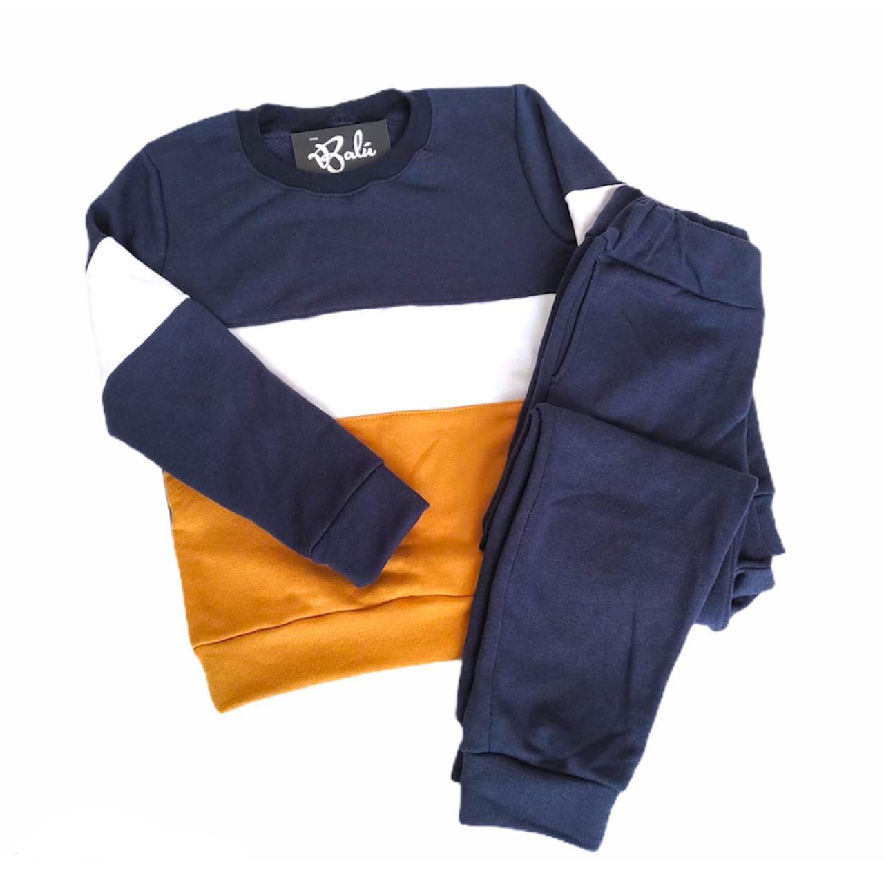 Sudadera para niño azul/mostaza