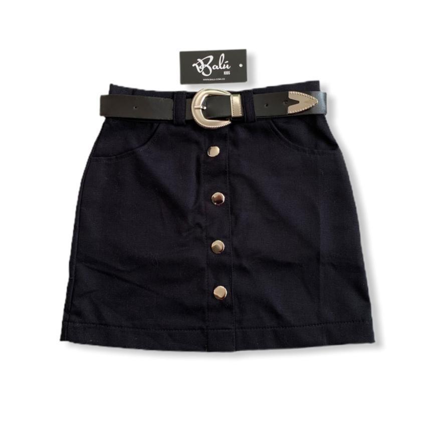 Falda con broches color negro
